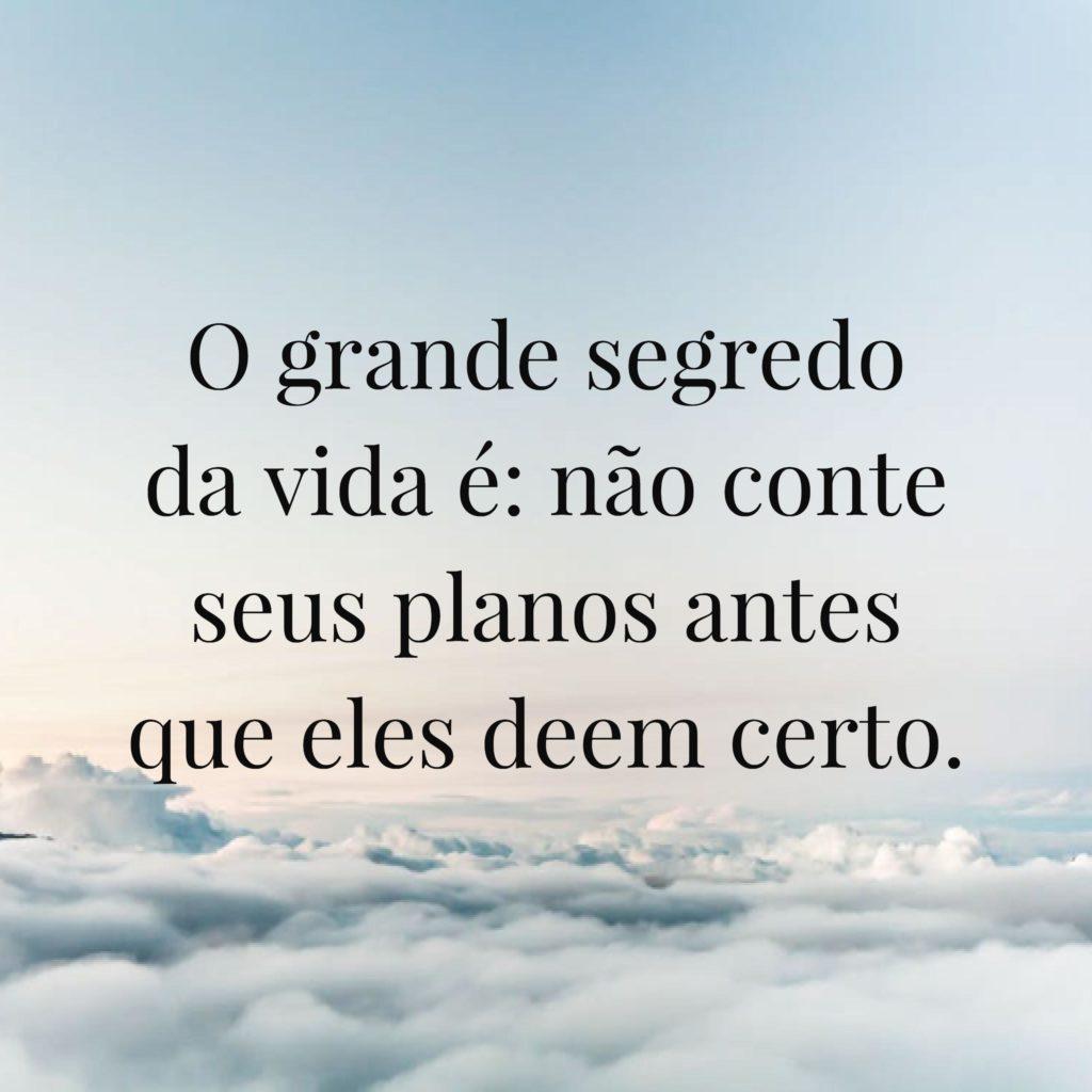 O grande segredo da vida é:
