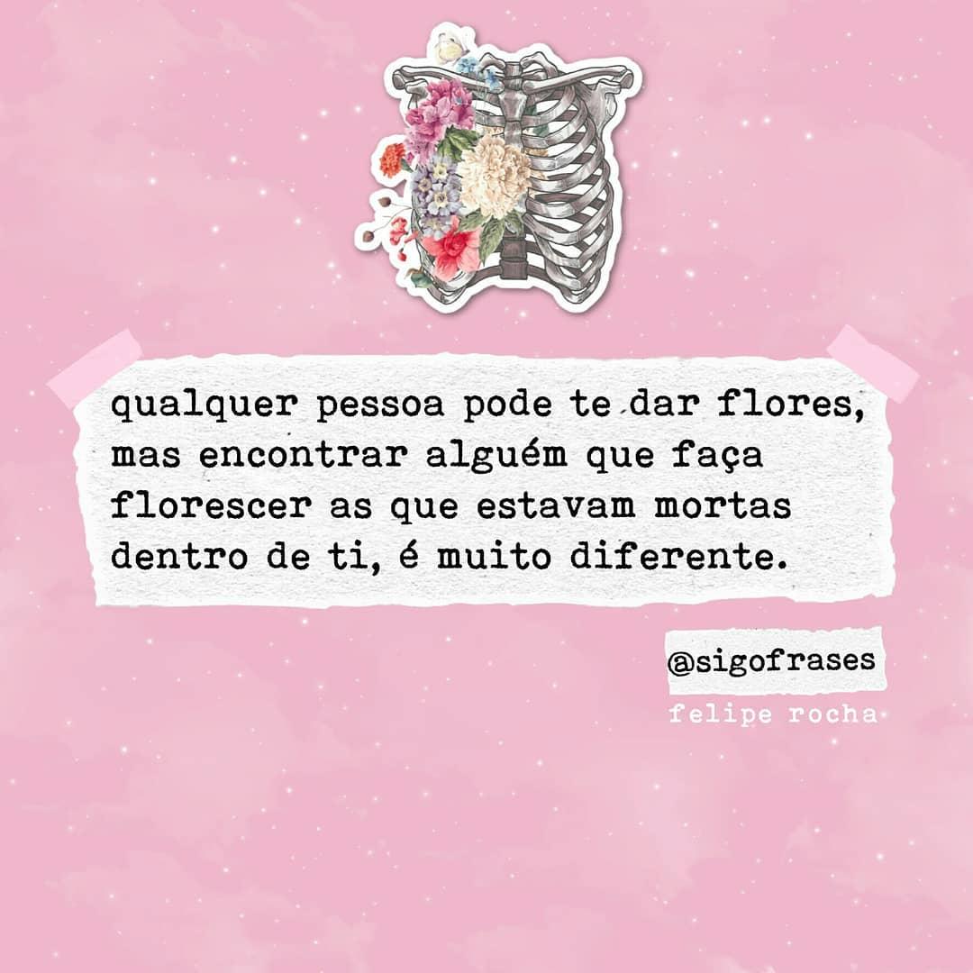 Qualquer pessoa pode te dar flores, mas encontrar alguém que faça florescer as que estavam mortas dentro de ti, é muito diferente.