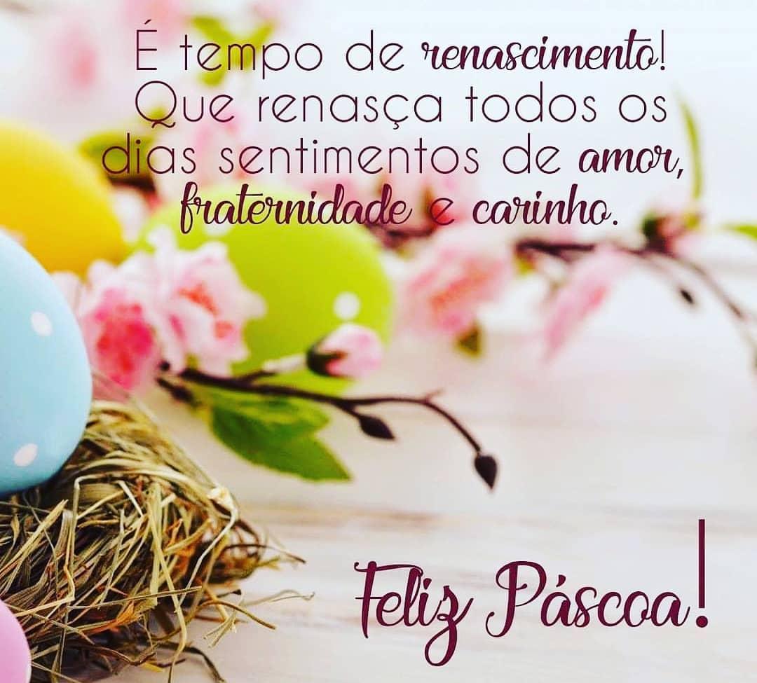 É tempo de renascimento! Que renasça todos os dias sentimentos de amor, fraternidade e carinho. Feliz Páscoa!