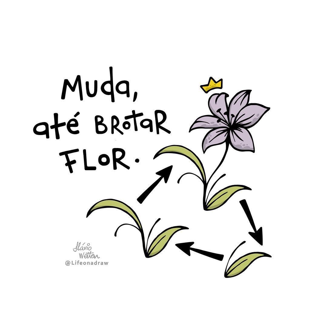 Muda, até brotar flor.