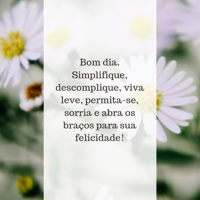 Bom dia. Simplifique, descomplique, viva leve, permita-se, sorria e abra os braços para sua felicidade!