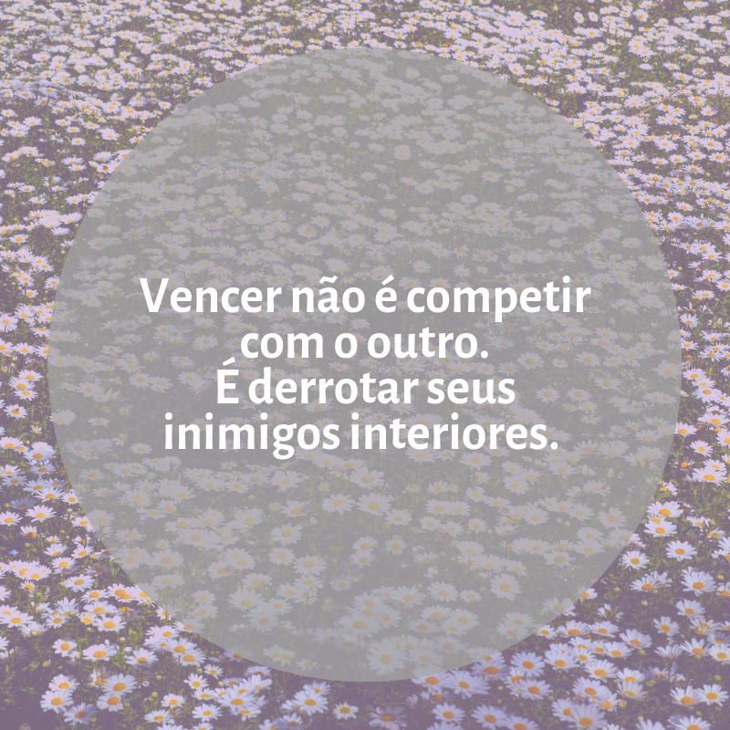 Vencer não é competir com o outro. É derrotar seus inimigos interiores.