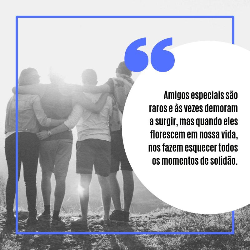Amigos especiais são raros e às vezes demoram a surgir, mas quando eles florescem em nossa vida, nos fazem esquecer todos os momentos de solidão.