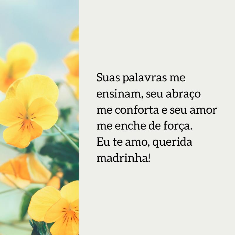 Suas palavras me ensinam, seu abraço me conforta e seu amor me enche de força. Eu te amo, querida madrinha!