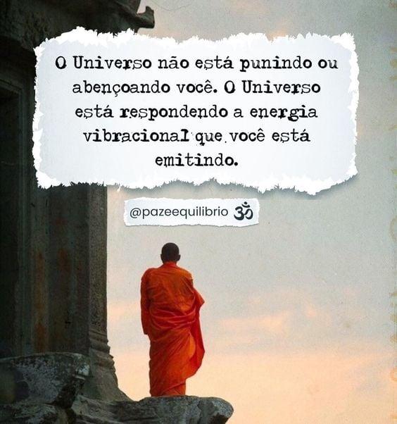 O Universo não está punindo ou abençoando você. O Universo está respondendo a energia vibracional que você está emitindo.
