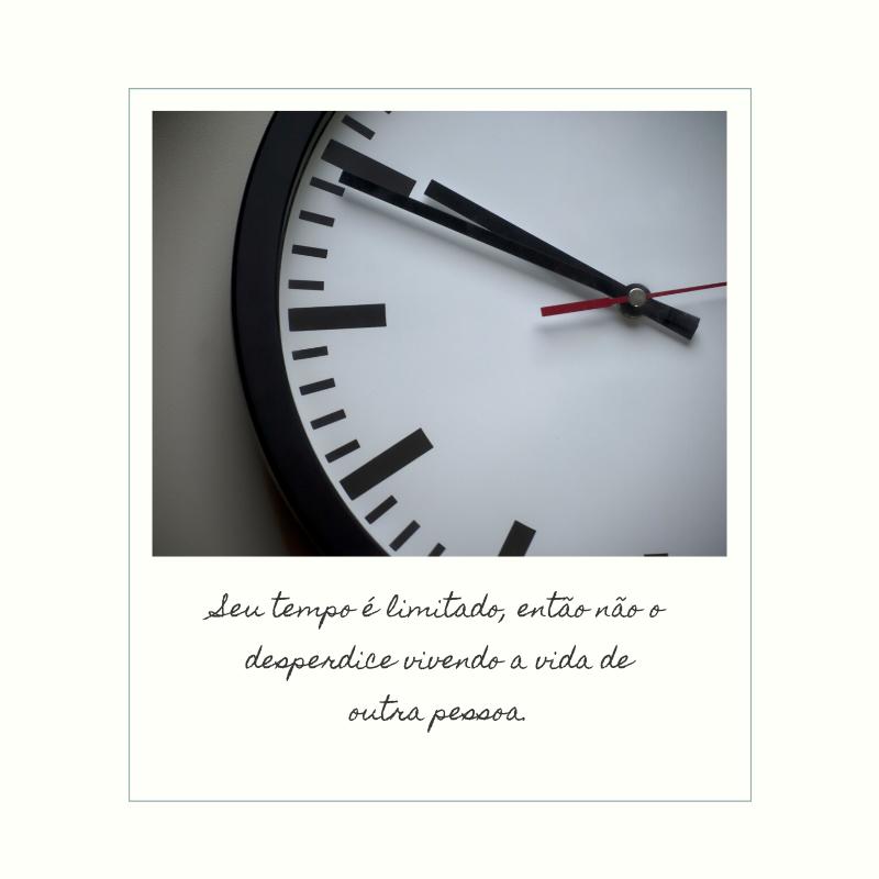 Seu tempo é limitado, então não o desperdice vivendo a vida de outra pessoa.
