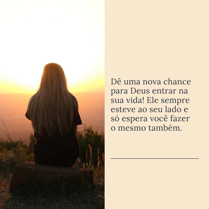 Dê uma nova chance para Deus entrar na sua vida! Ele sempre esteve ao seu lado e só espera você fazer o mesmo também.