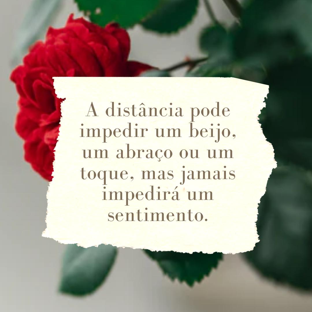 A distância pode impedir um beijo, um abraço ou um toque, mas jamais impedirá um sentimento.