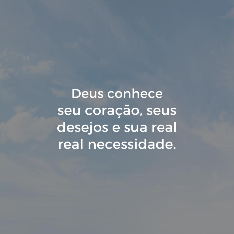 Deus conhece seu coração, seus desejos e sua real real necessidade.