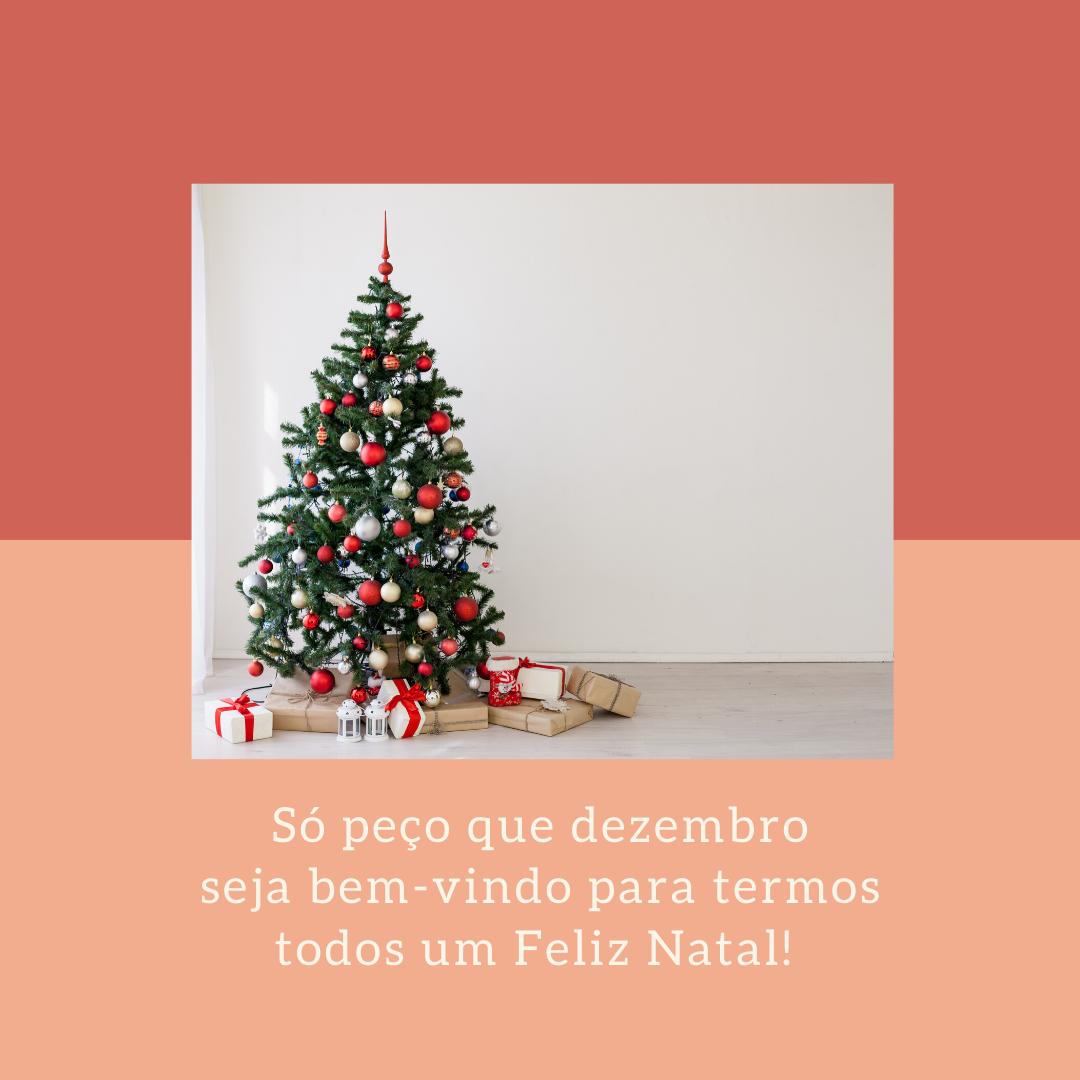 Só peço que dezembro seja bem-vindo para termos todos um Feliz Natal!