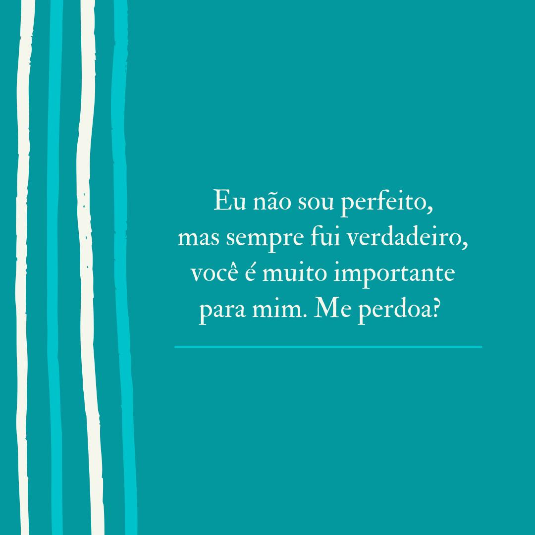 Eu não sou perfeito, mas sempre fui verdadeiro, você é muito importante para mim. Me perdoa?