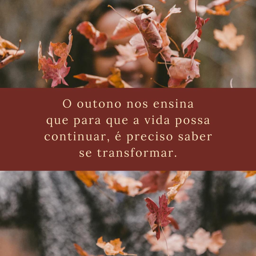 O outono nos ensina que para que a vida possa continuar, é preciso saber se transformar.