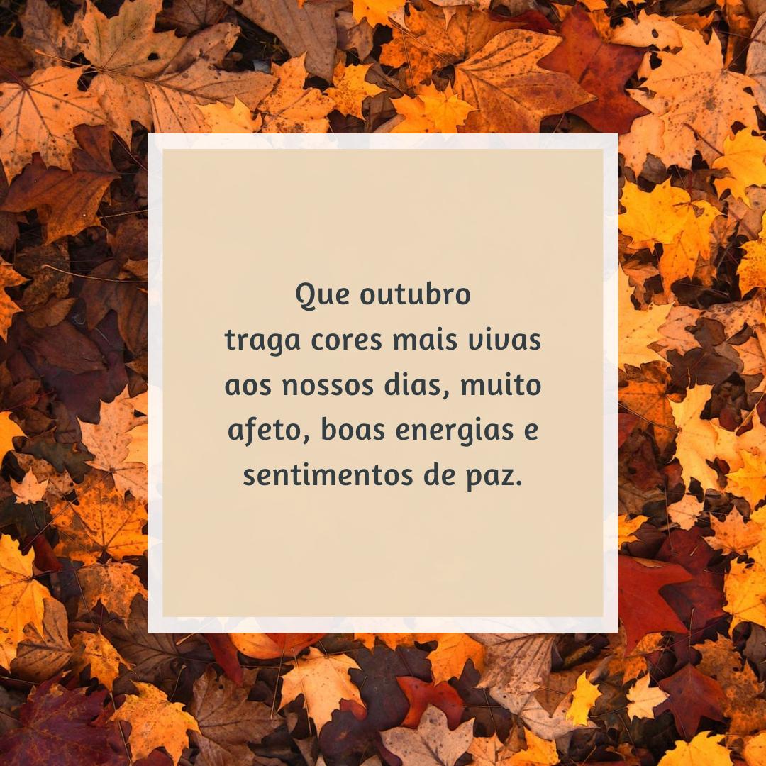 Que outubro traga cores mais vivas aos nossos dias, muito afeto, boas energias e sentimentos de paz.