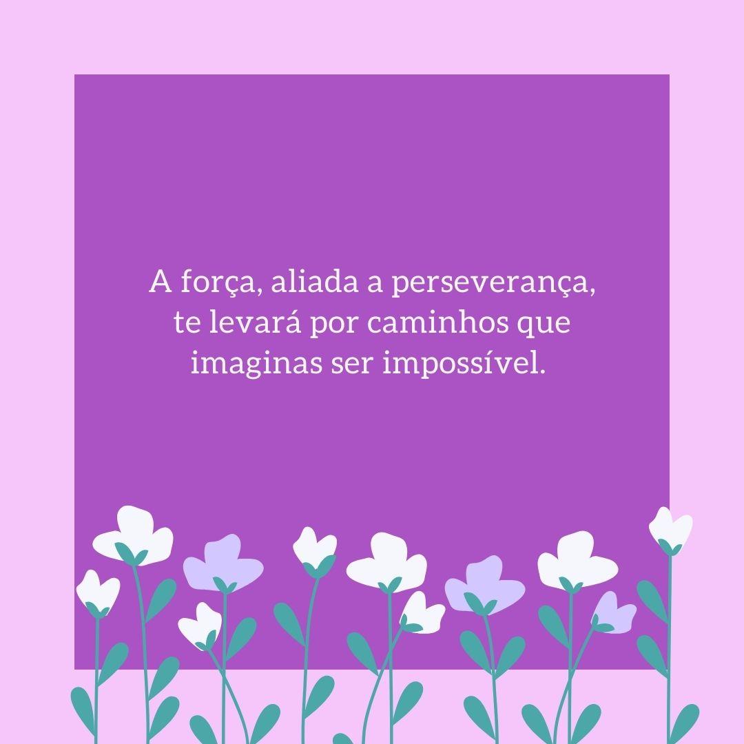 A força, aliada a perseverança, te levará por caminhos que imaginas ser impossível.