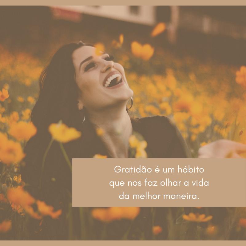 Gratidão é um hábito que nos faz olhar a vida da melhor maneira.