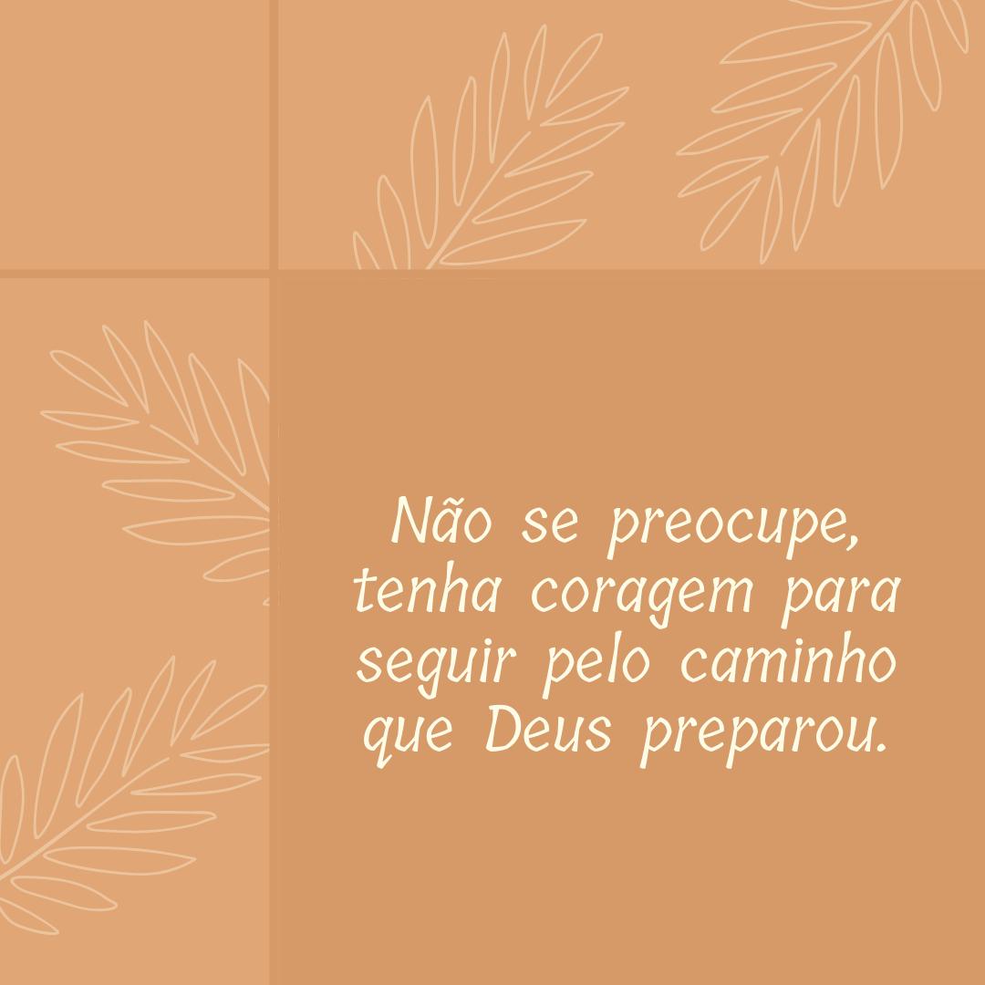 Não se preocupe, tenha coragem para seguir pelo caminho que Deus preparou.
