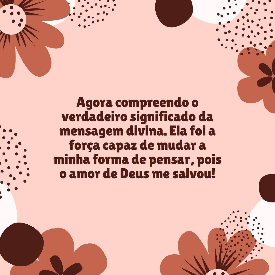 Agora compreendo o verdadeiro significado da mensagem divina. Ela foi a força capaz de mudar a minha forma de pensar, pois o amor de Deus me salvou!