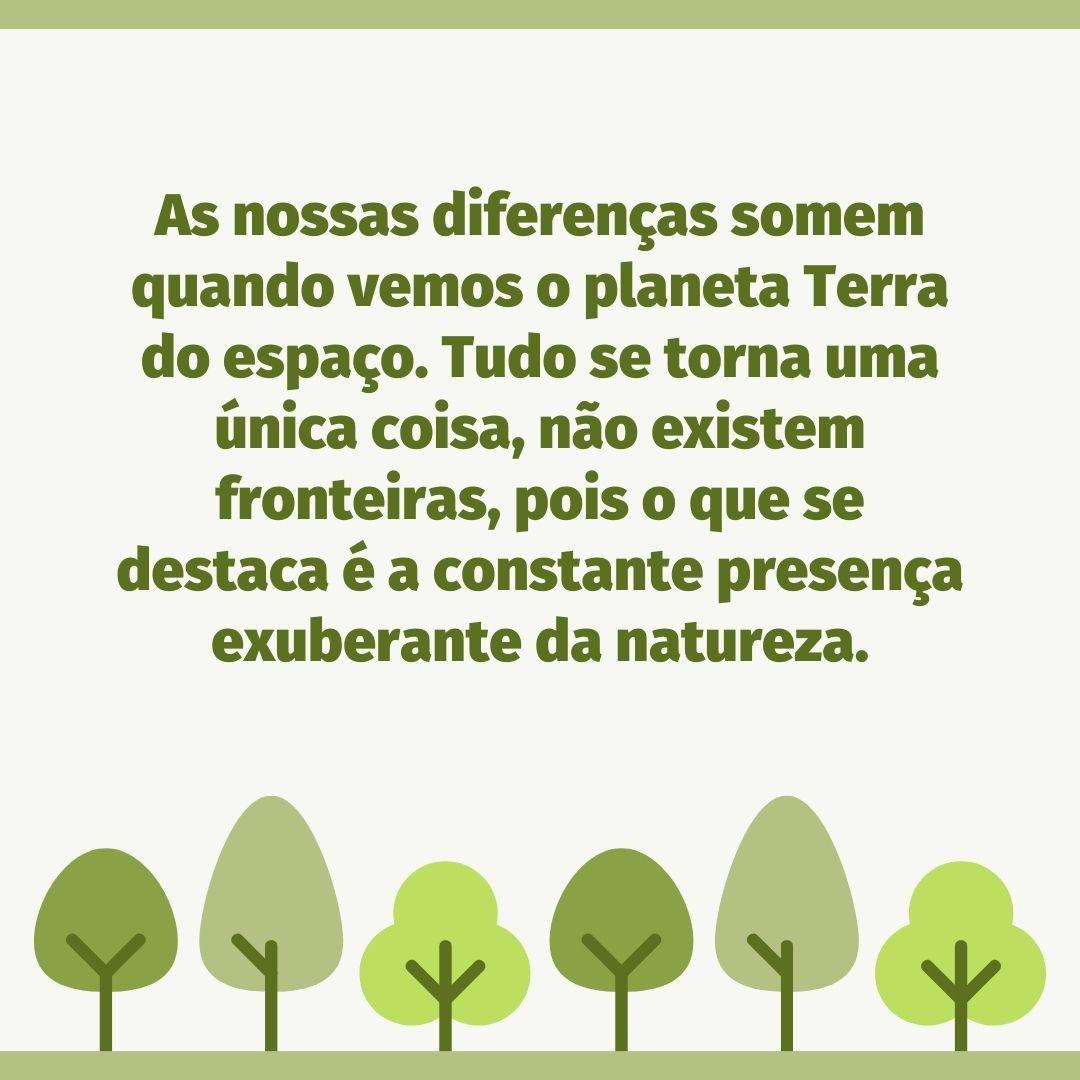 As nossas diferenças somem quando vemos o planeta Terra do espaço. Tudo se torna uma única coisa, não existem fronteiras, pois o que se destaca é a constante presença exuberante da natureza.