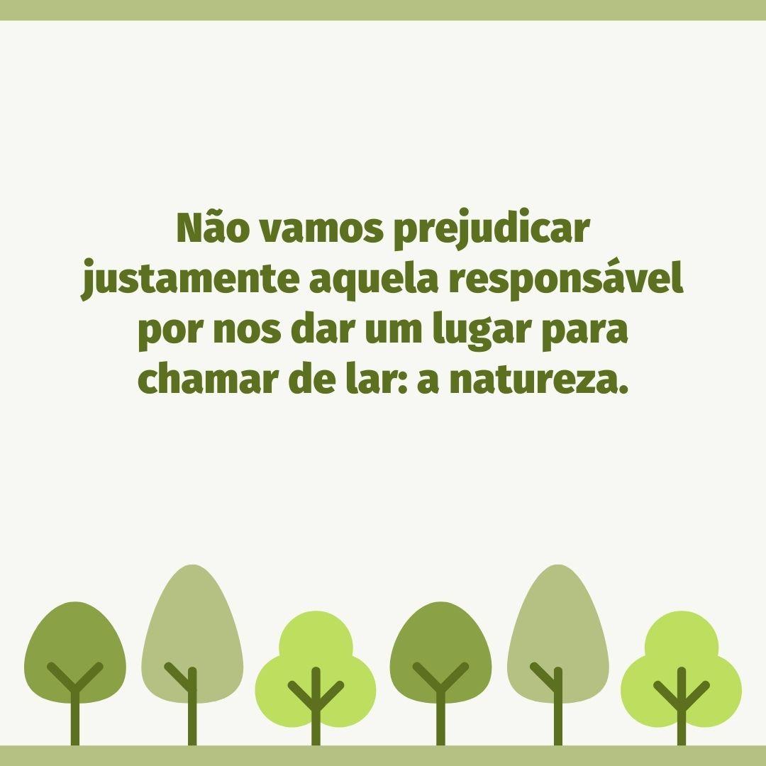 Não vamos prejudicar justamente aquela responsável por nos dar um lugar para chamar de lar: a natureza.