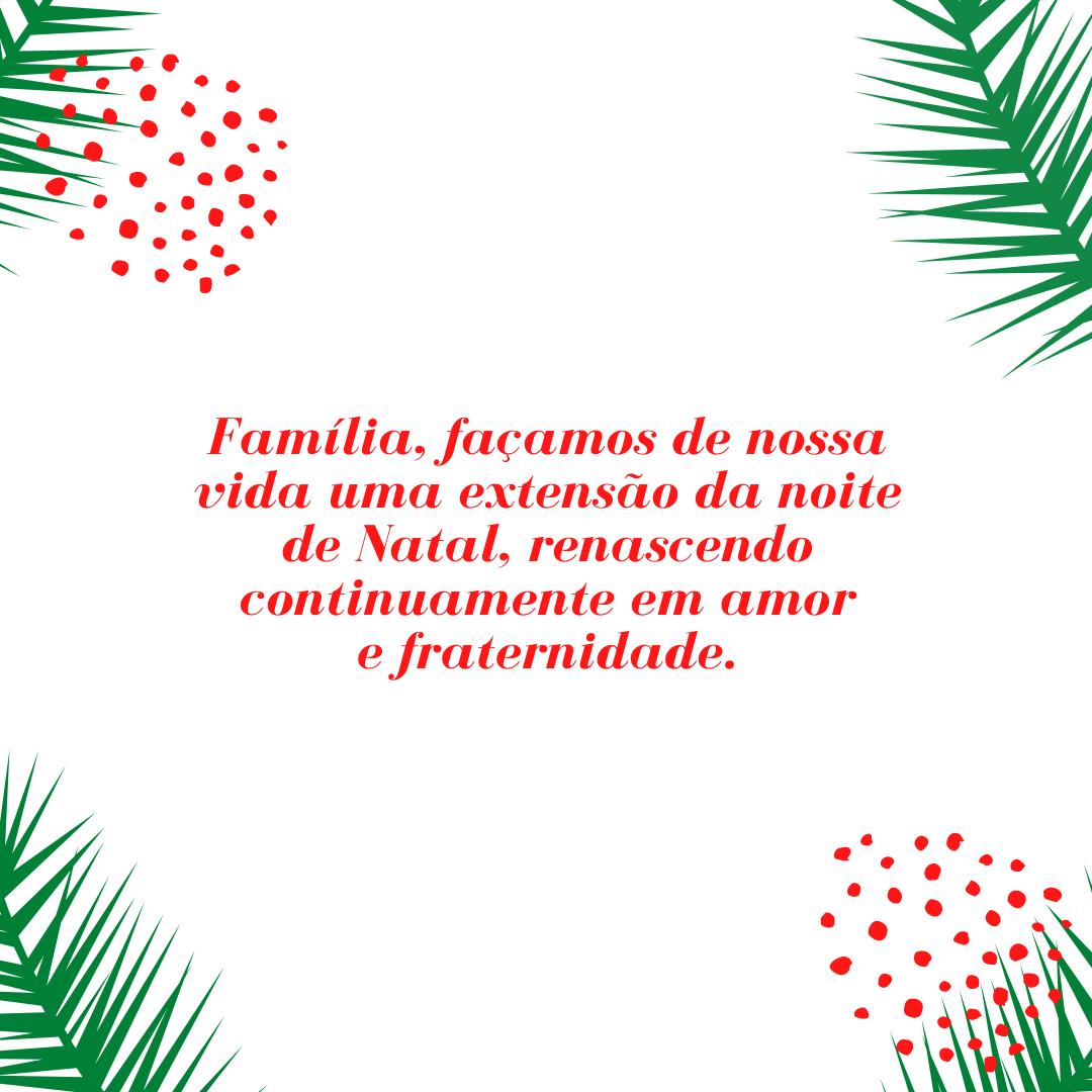 Família, façamos de nossa vida uma extensão da noite de Natal, renascendo continuamente em amor e fraternidade.