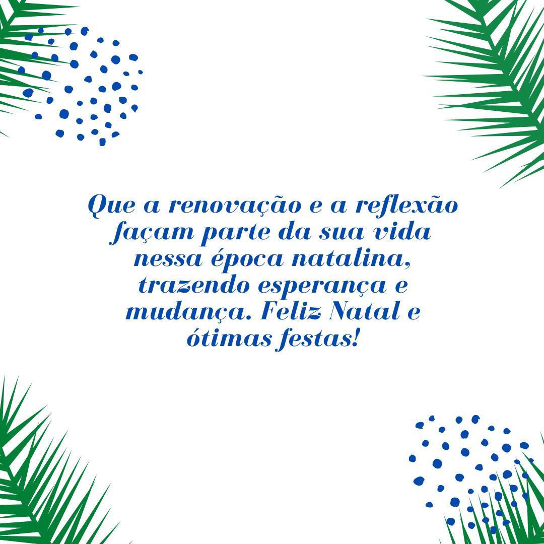 Que a renovação e a reflexão façam parte da sua vida nessa época natalina, trazendo esperança e mudança. Feliz Natal e ótimas festas!