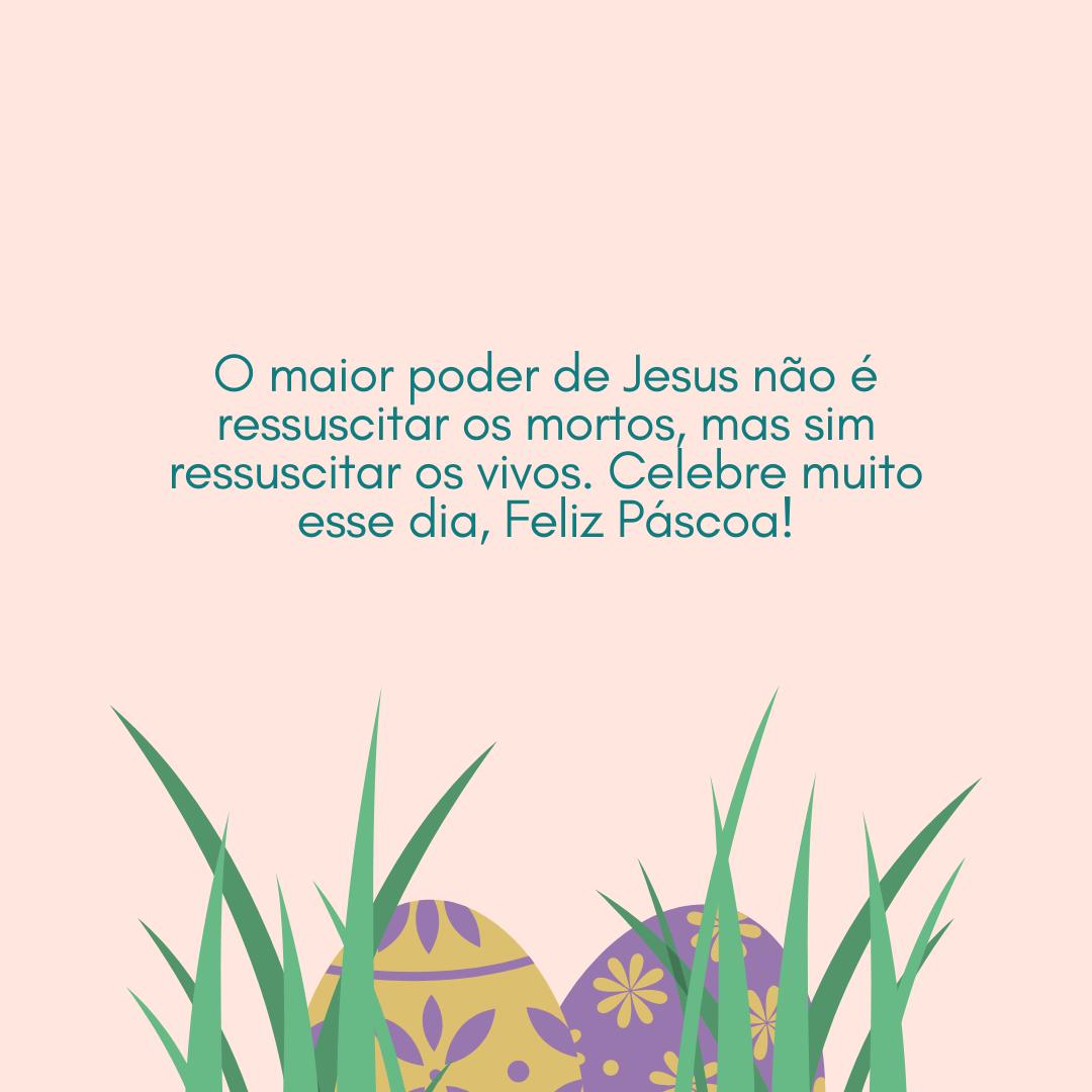 O maior poder de Jesus não é ressuscitar os mortos, mas sim ressuscitar os vivos. Celebre muito esse dia, Feliz Páscoa!