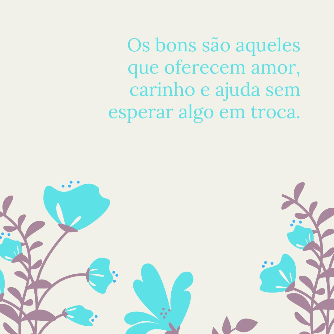 Os bons são aqueles que oferecem amor, carinho e ajuda sem esperar algo em troca.