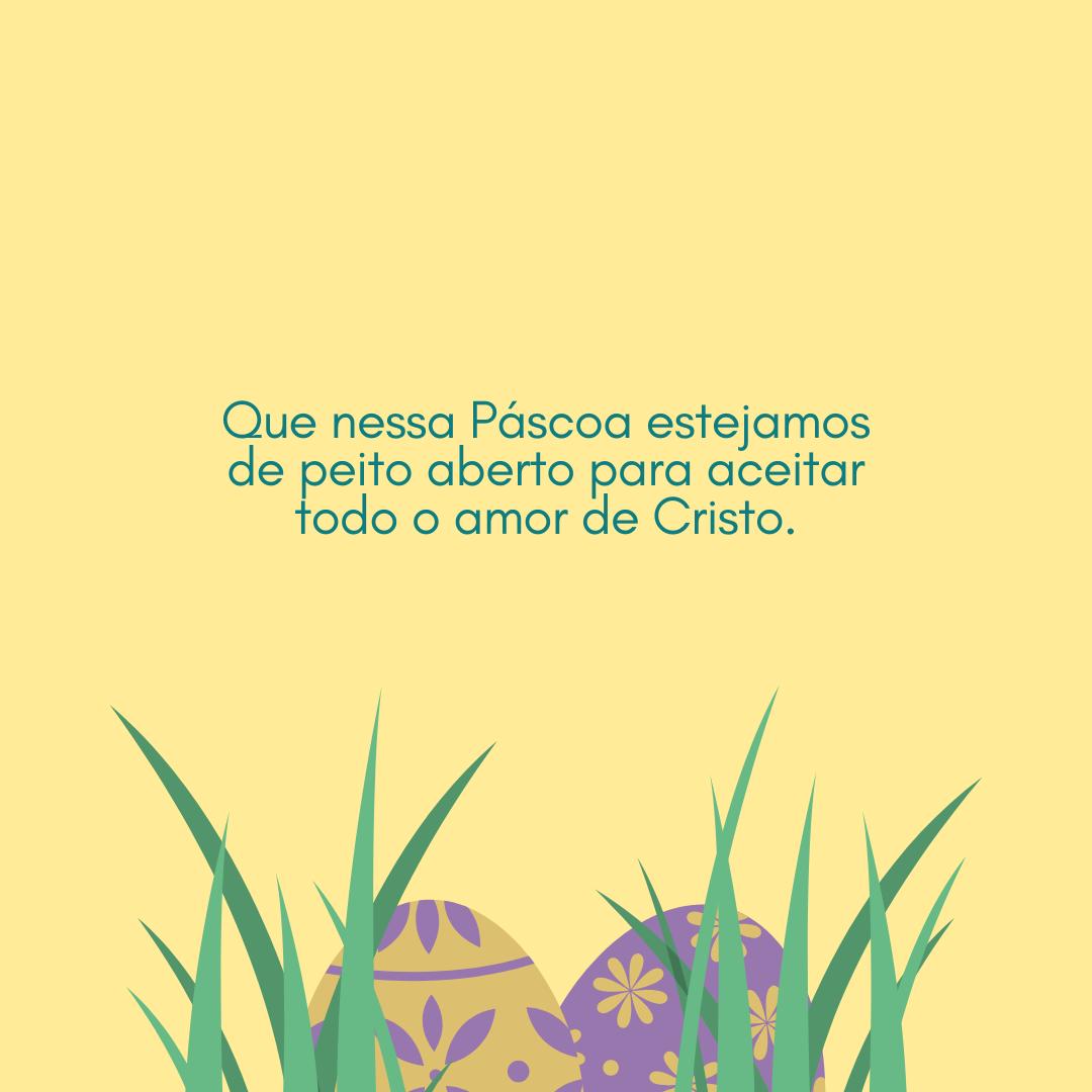 Que nessa Páscoa estejamos de peito aberto para aceitar todo o amor de Cristo.