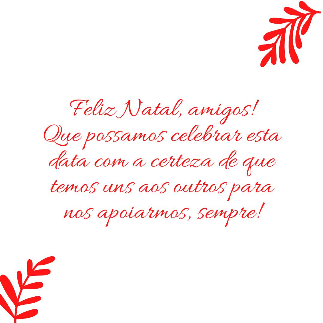 Feliz Natal, amigos! Que possamos celebrar esta data com a certeza de que temos uns aos outros para nos apoiarmos, sempre!